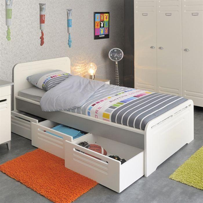 Lit 1 personne tiroir rangement pas cher comparer les prix avec cherchons - Lit adulte avec rangement pas cher ...