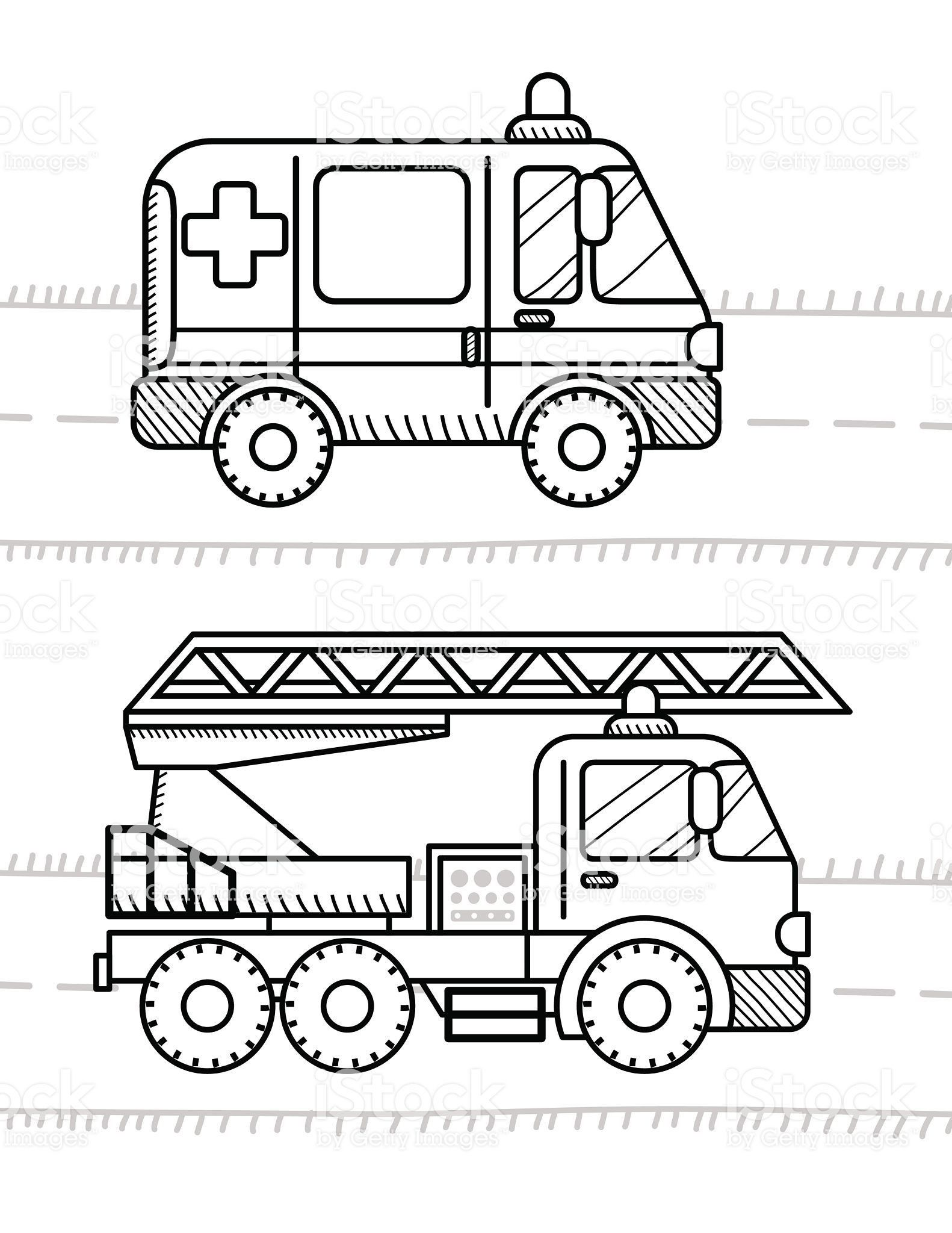 4 Worksheet 3 Color Fire Truck Vehicles Preschool In