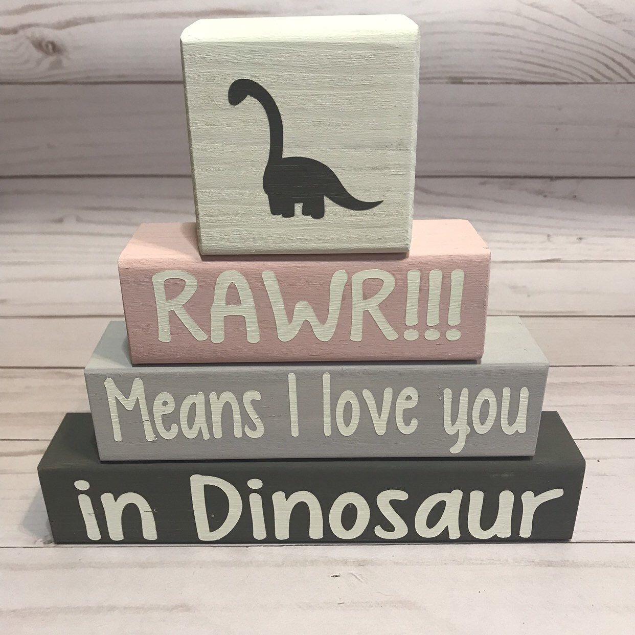 Baby Boy Nursery Decor, Baby Girl Nursery Decor, Dinosaur Theme Blocks, Rawr Means I Love You In Dinosaur, Baby Shower Gift, Custom