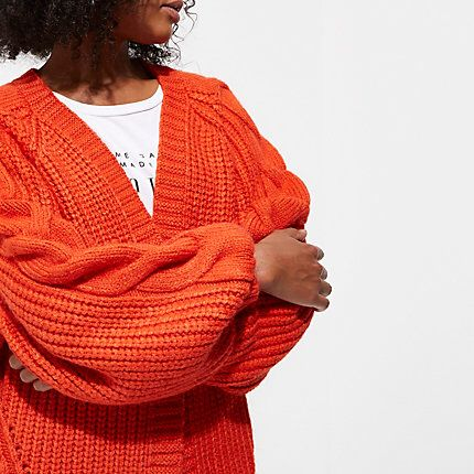eed0cedf5b2 Checkout this Red chunky cable knit cardigan from River Island ...