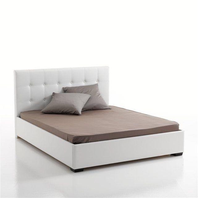 lit complet tête de lit capitonnée sommier rangement