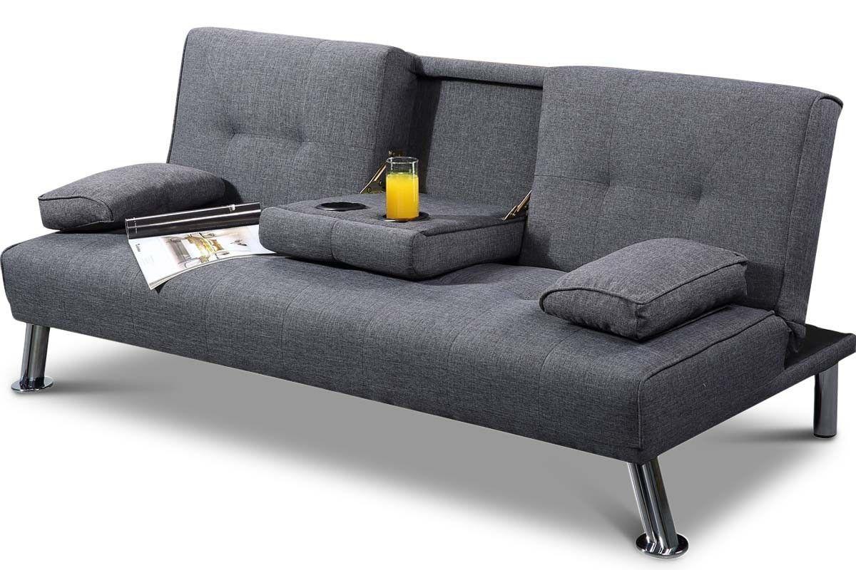 New York Grey Fabric Modern 3 Seater Sofa Bed