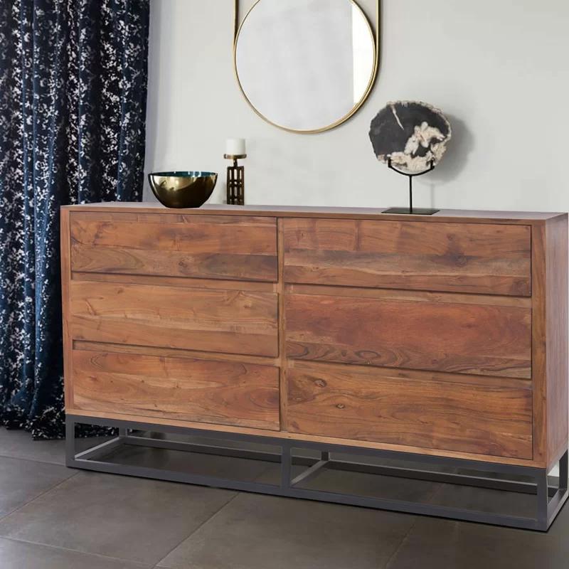 Monahan Acacia Wood 6 Drawer Dresser In 2020 Wood Dresser