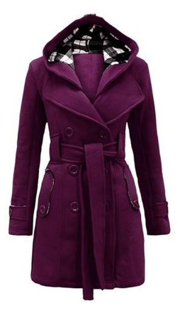 Purple Plum Black Plaid Stylish Hooded Double Breasted Long Sleeve