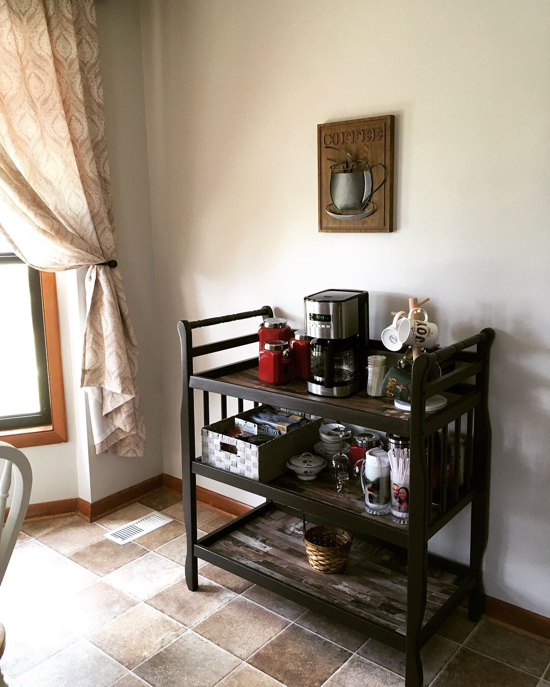 My Diy Coffee Bar Cart I Upcycled My Changing Table To This Coffee Bars In Kitchen Coffee Bar Home Bar Cart Decor