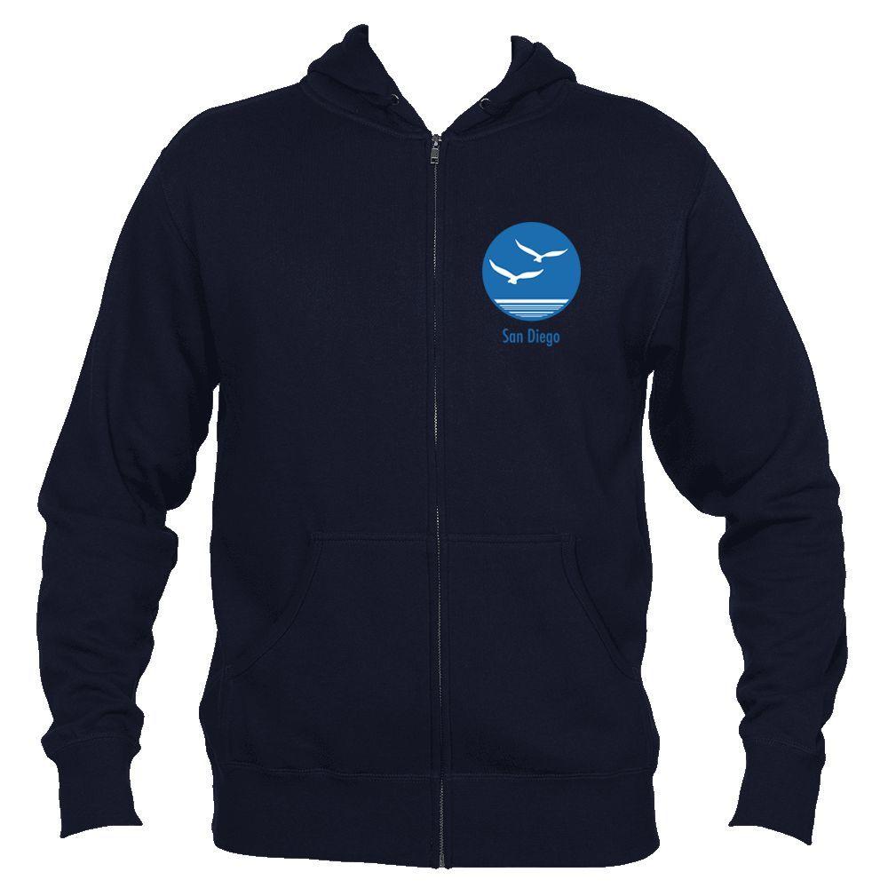 San Diego, California Seagull - Men's Full-Zip Hooded Sweatshirt/Hoodie