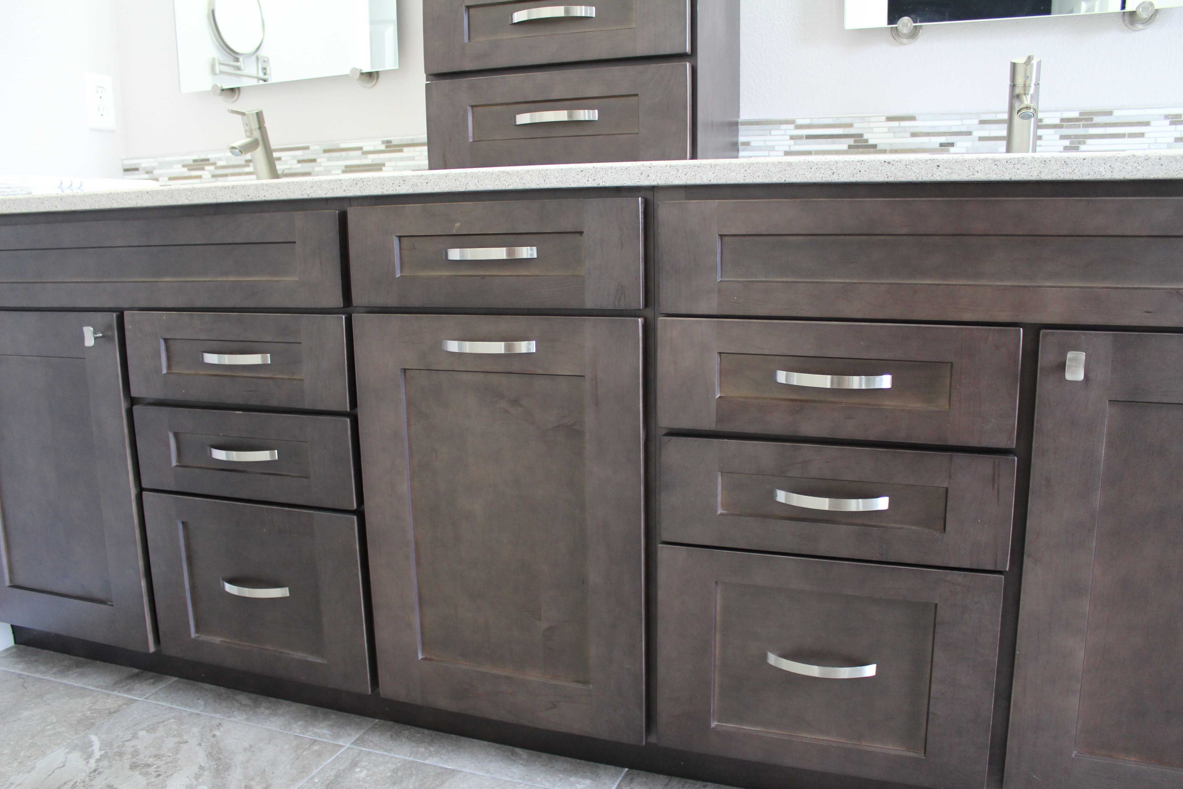 Charcoal Stained Bathroom Vanity With Pull Out Laundry