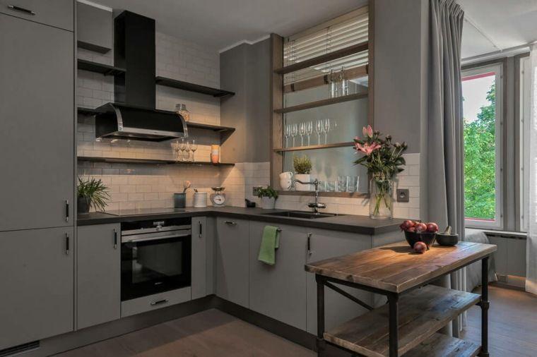 Moderne keukens met houten accenten in voorbeelden decoratie