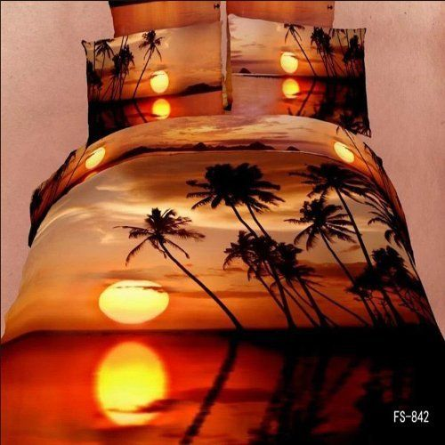 Amazon Com Sunset Bedding Oil Painting 3d Bedding Duvet Cover Queen Luxury Wedding Set Cotton Romantic King Size Bedding Sets Print Bedding Duvet Cover Sets