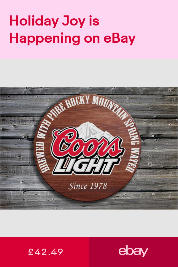 Coors Light Barrel End Style Wooden Pub Sign Beer