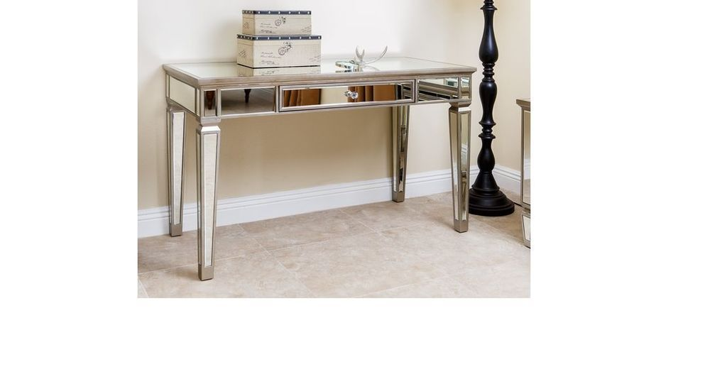 mirrored office furniture. mirror table vanity writing desk computer glam home office furniture unbranded mirrored
