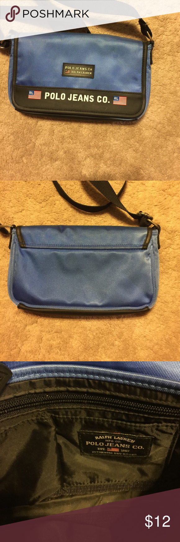 "Polo Ralph Lauren shoulder/ crossbody handbag Blue trimmed in Black casual Ralph Lauren. Bag!   22"" top of strap to ""D"" ring!  In really good condition except there is a reddish mark underneath the flap.  Shown in last picture. Polo by Ralph Lauren Bags Shoulder Bags"