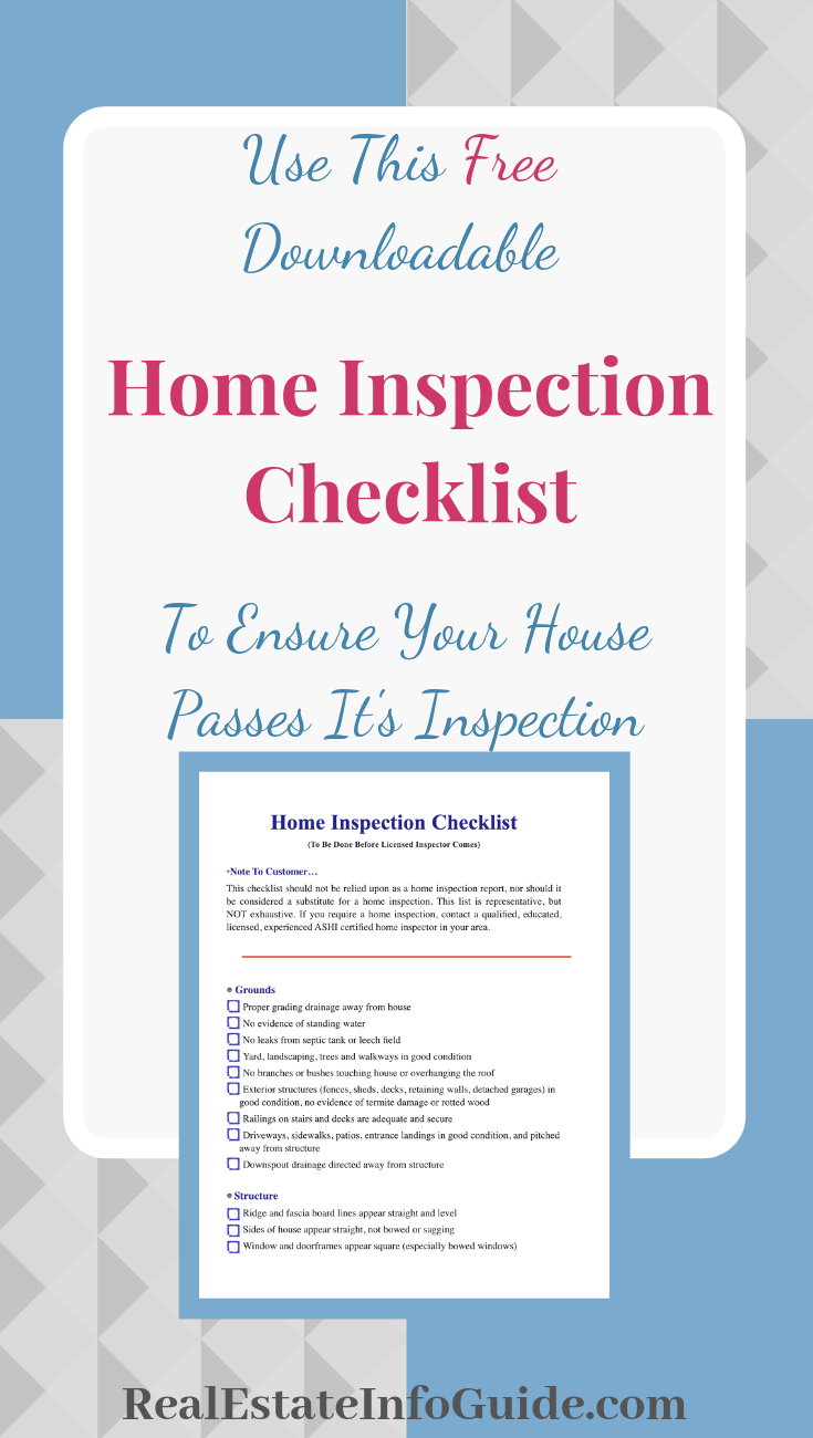 Download my FREE Home Inspection Checklist to ensure that