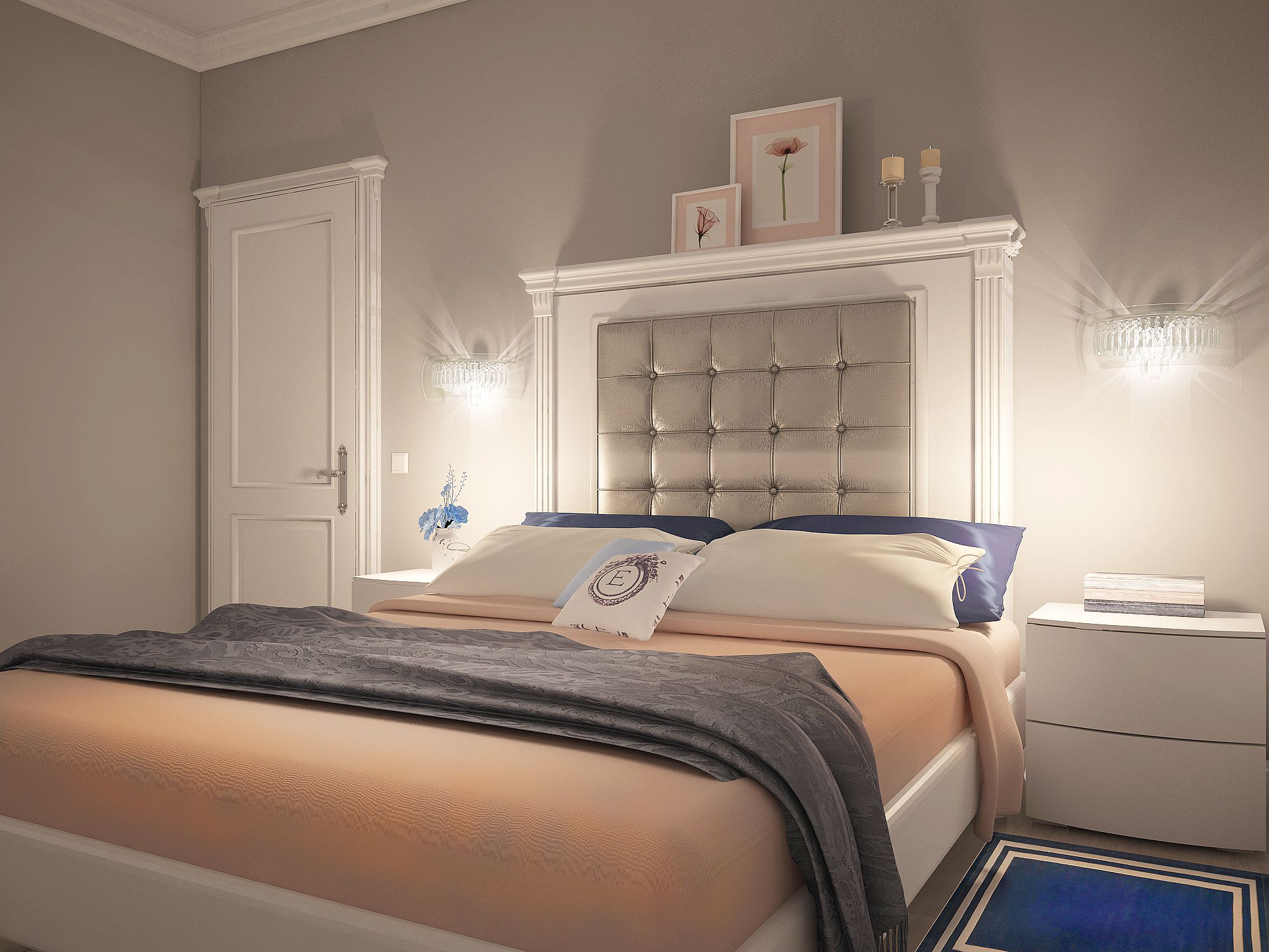Grey bedroom with peach and blue accents