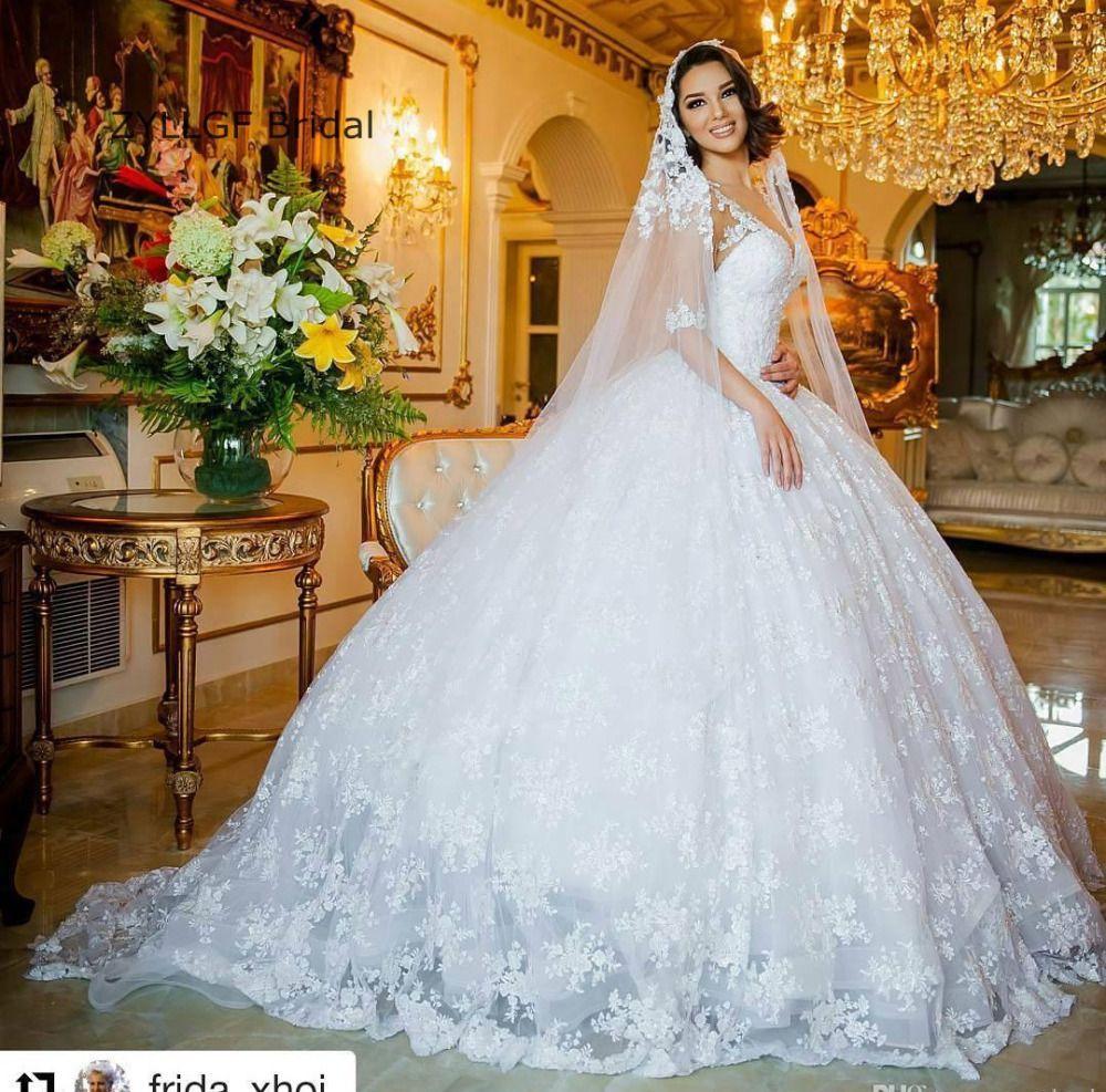 Click to buy ucuc zyllgf bridal puffy saudi arabia lace wedding gowns