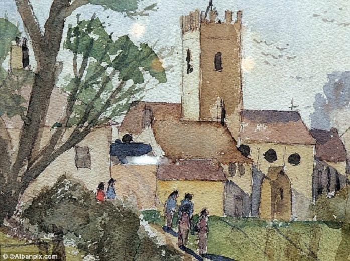 Acuarela de una iglesia local. Cuando la pintó Kieron Williamson tenía 6 años