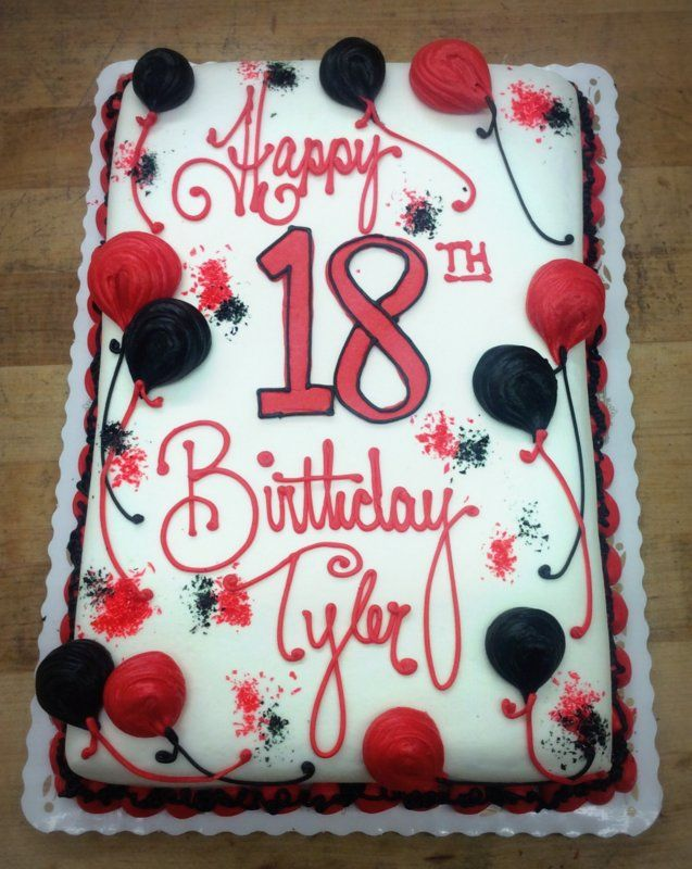 Sheet Cake With Red And Black Balloons Birthday Sheet Cakes 16