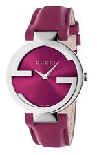 Gucci Seasonal Interlocking Damenuhr YA133321 Analog  Leder Pink