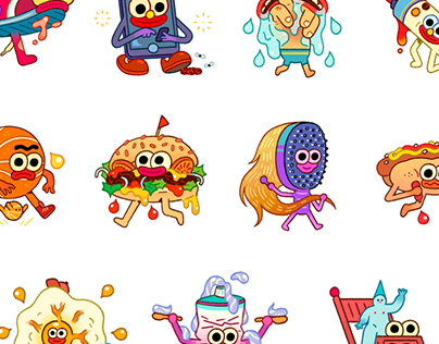 Characters on Behance Snapchat stickers, Character