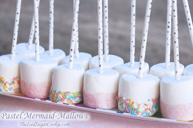 Pastel Mermaid Mallows -Mermaid Birthday Party Food Idea-Mermaid Snacks Treats #diybirthdaydecor