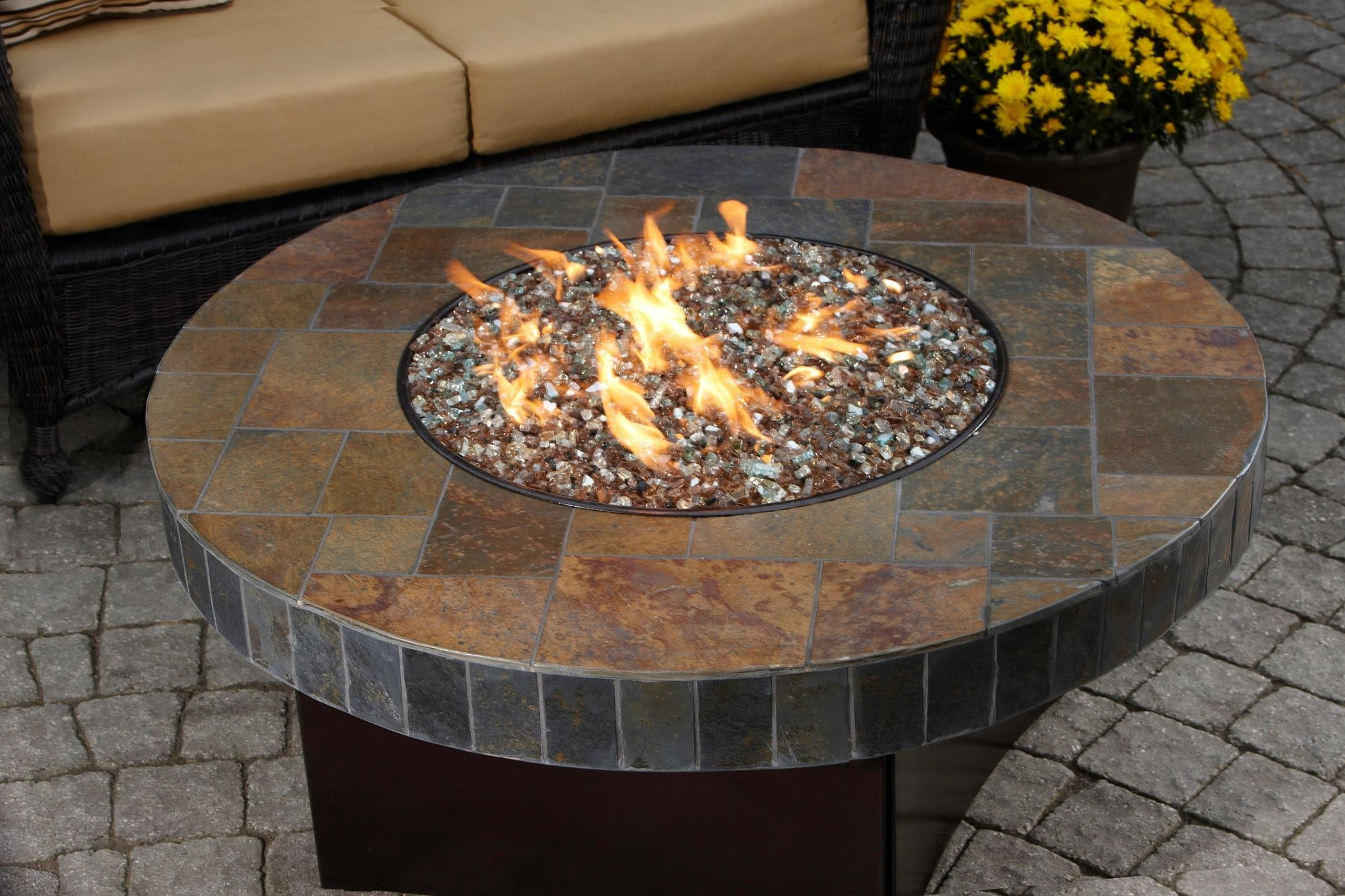 Propane Fire Pits With Stone Base | Oriflamme Fire Table Santa Fe Mosaic  Stone Gas Fire