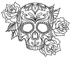 American Hippie Art Coloring Pages Sugar Skull Tattoo