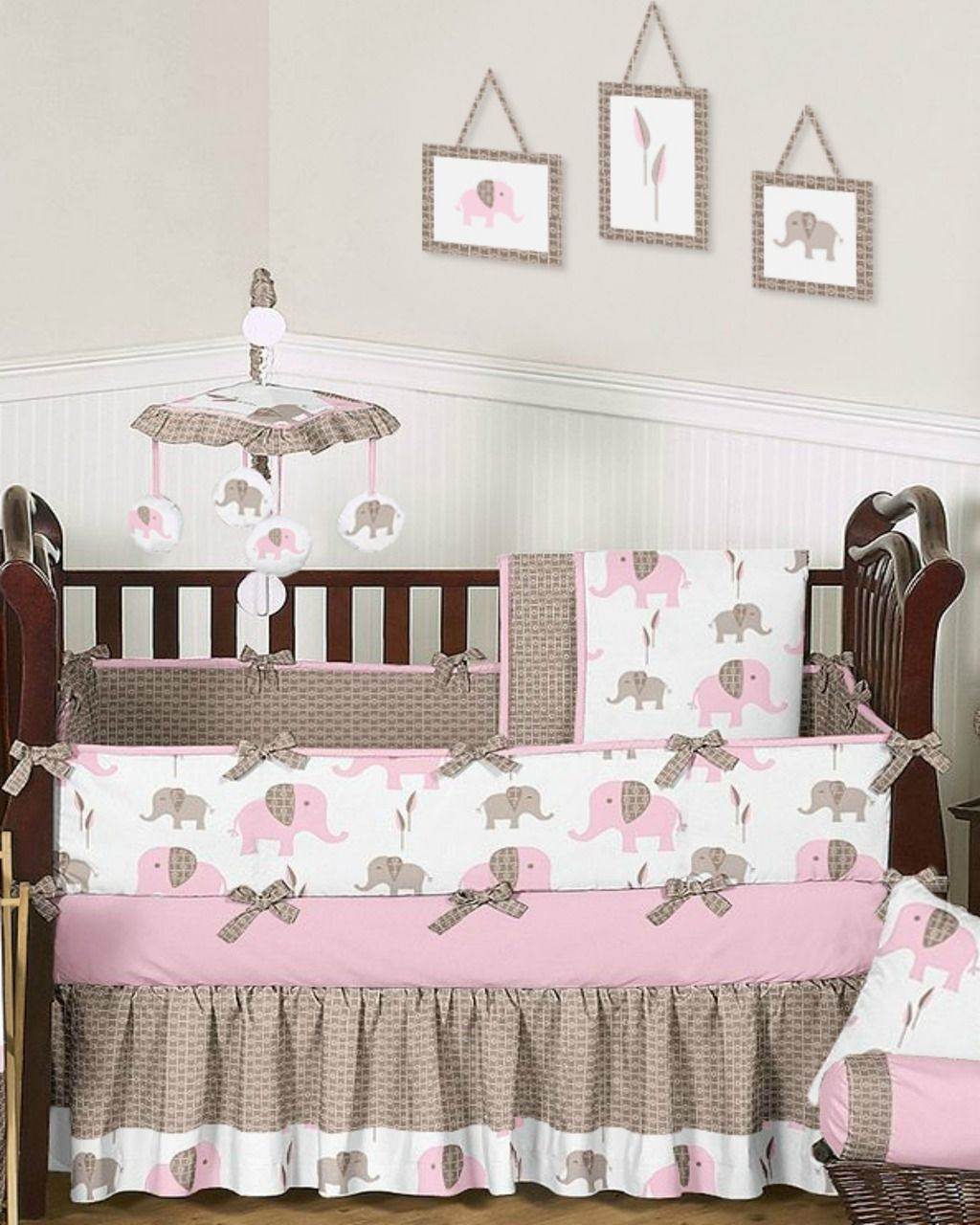Elephant pink and taupe baby bedding pc crib set babyus room
