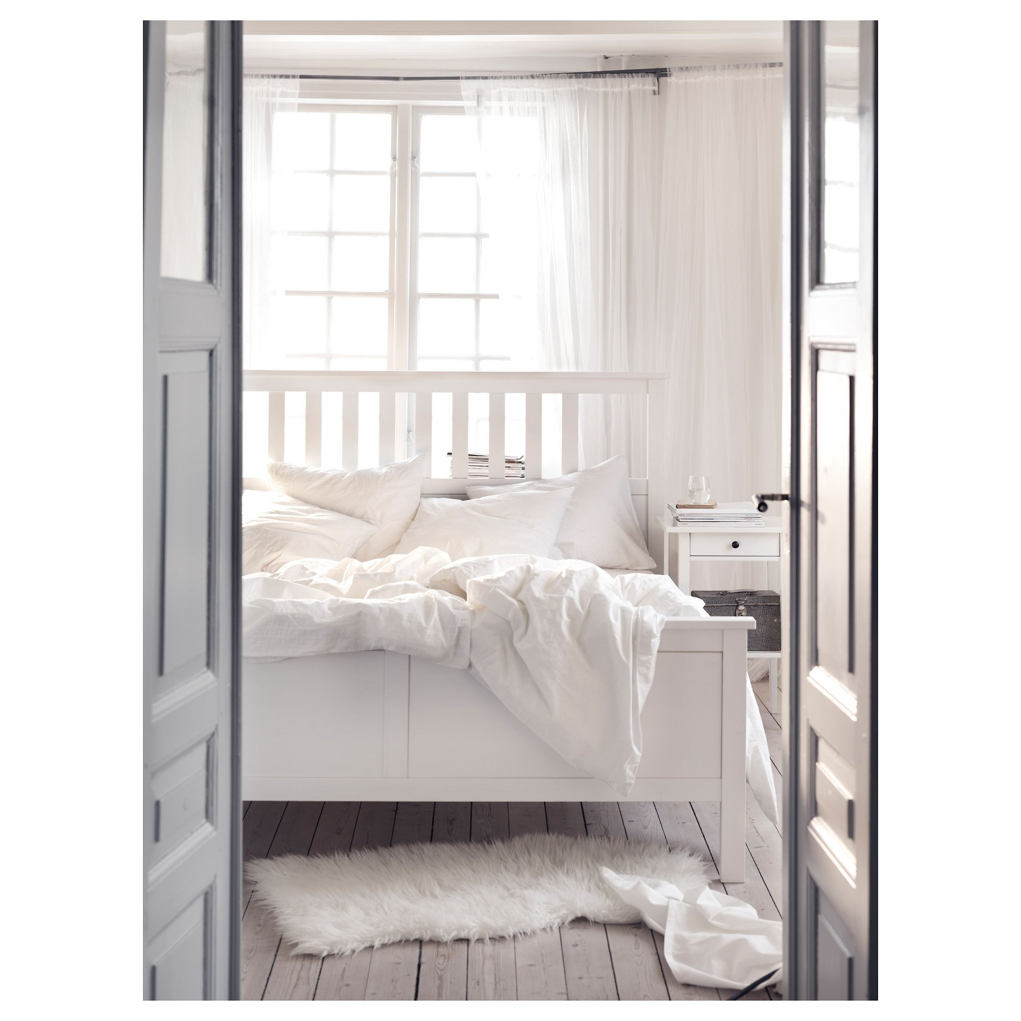 HEMNES Bed Frame White Stain/luröy Standard Double   IKEA