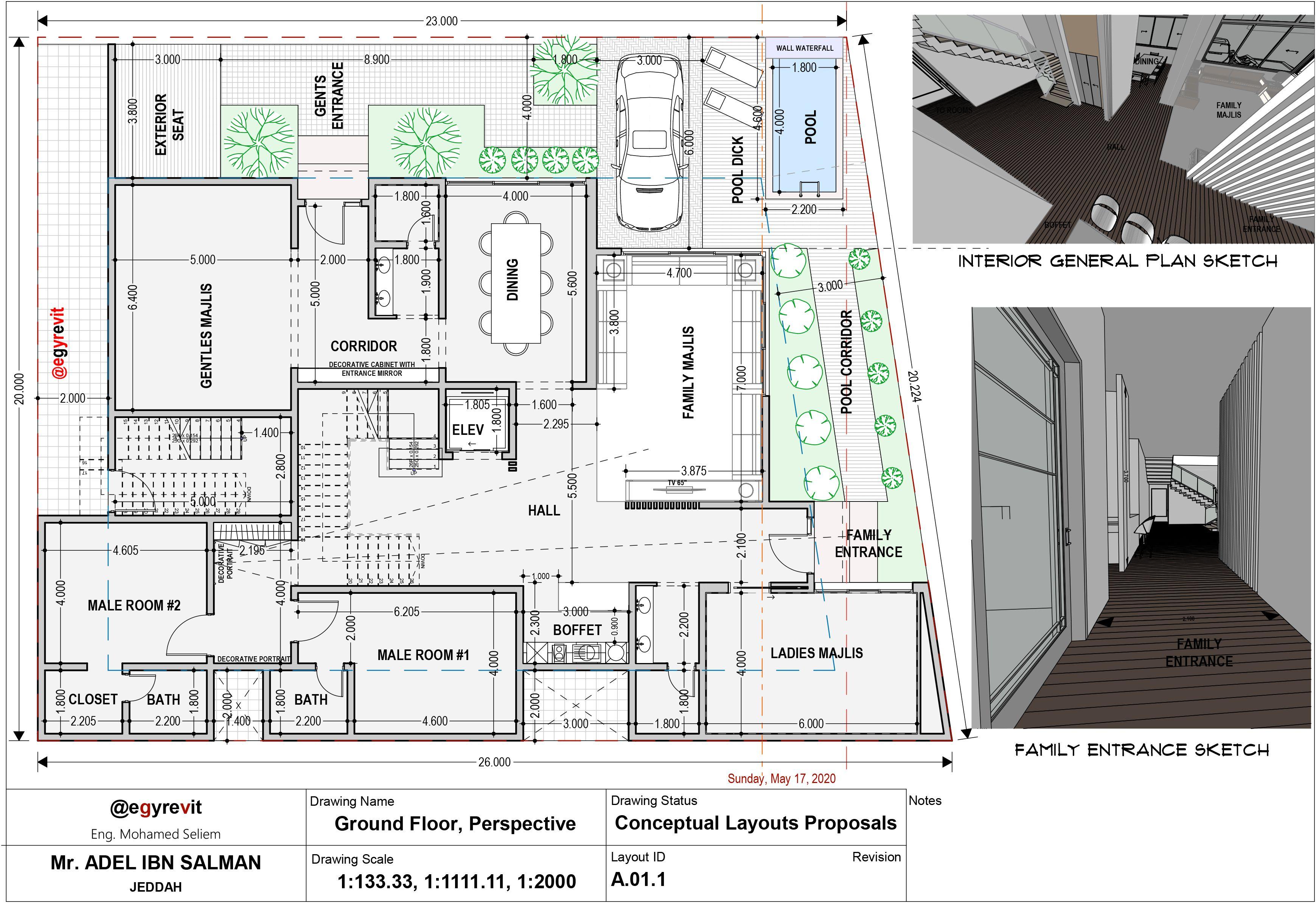 تصميم الدور الاول في فيلا مع غرفتين نوم للأولاد Villa Plan House Plans New House Plans