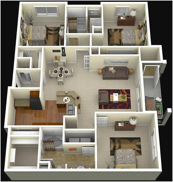 3 Contoh Denah Rumah Minimalis Modern Terbaru: Contoh Denah 3d Rumah 3 Kamar Tidur. Denah Rumah Sederhana