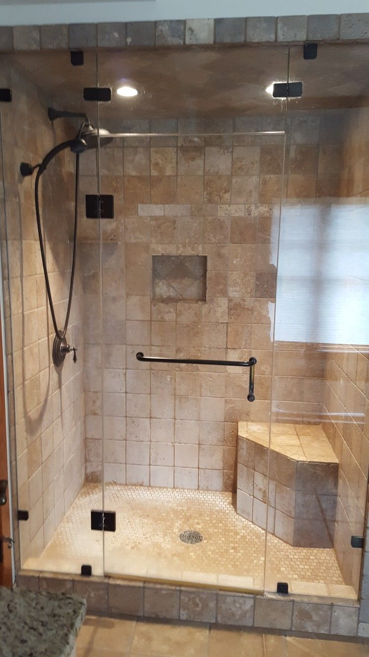 Years of hard water build up on travertine tile shower. | Our work ...