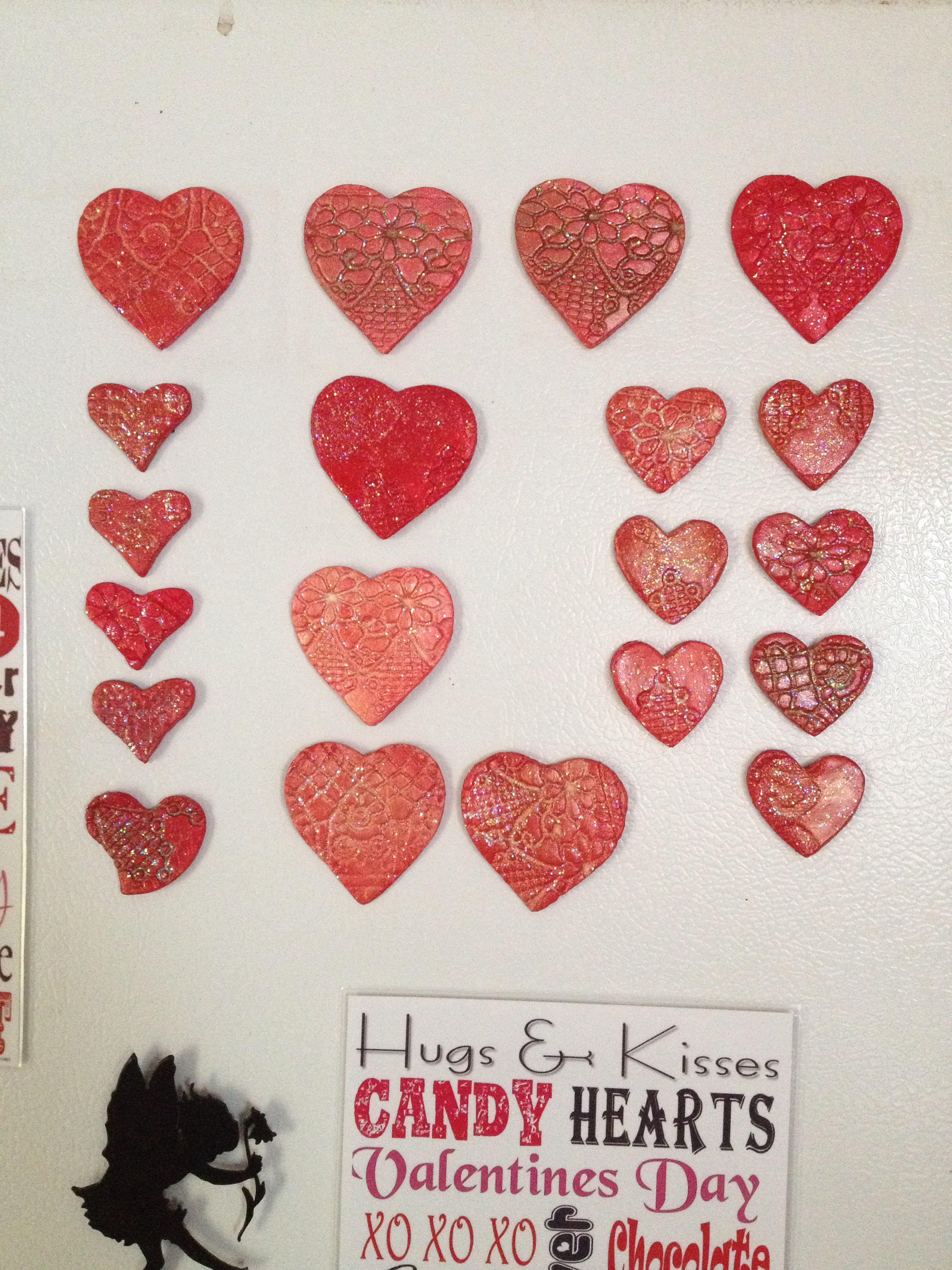 Air Dry Clay Heart Magnets Valentines Air Dry Clay Heart Candy