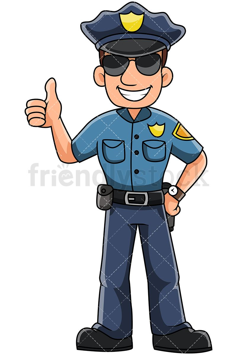 Male Police Officer Gesturing Thumbs Up And Smiling Doodles And