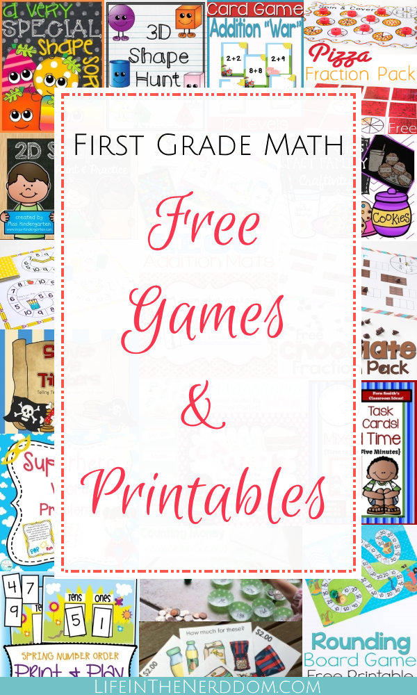 First Grade Math Free Games & Printables - Life In The Nerddom Printable  Math Games, Elementary Math Games, First Grade Math