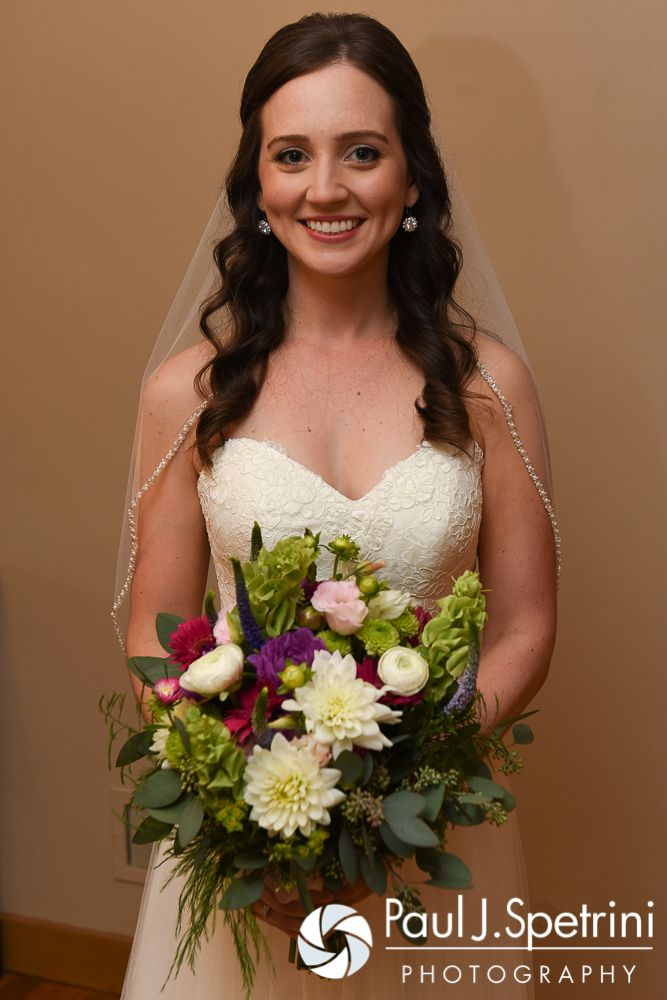 Alyssa smiles for a photo prior to her August 2016 wedding ceremony at Holy Name Church in Fall River, Massachusetts. To see more photos from Alyssa and Alex's wedding, please visit http://tinyurl.com/AlyssaAndAlex (Copyright 2016: Paul J. Spetrini Photography)