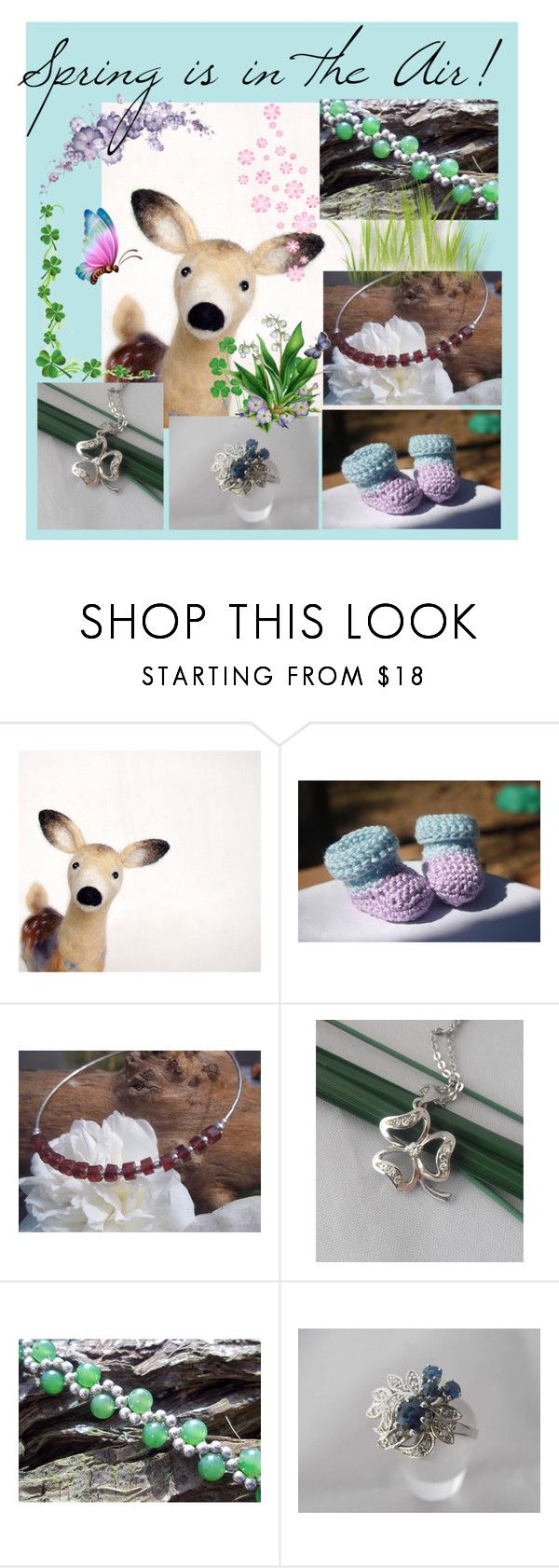 """Spring is in the Air"" by imaginebaby ❤ liked on Polyvore featuring vintage, etsy, jewelry, babybooties and feltdeer"
