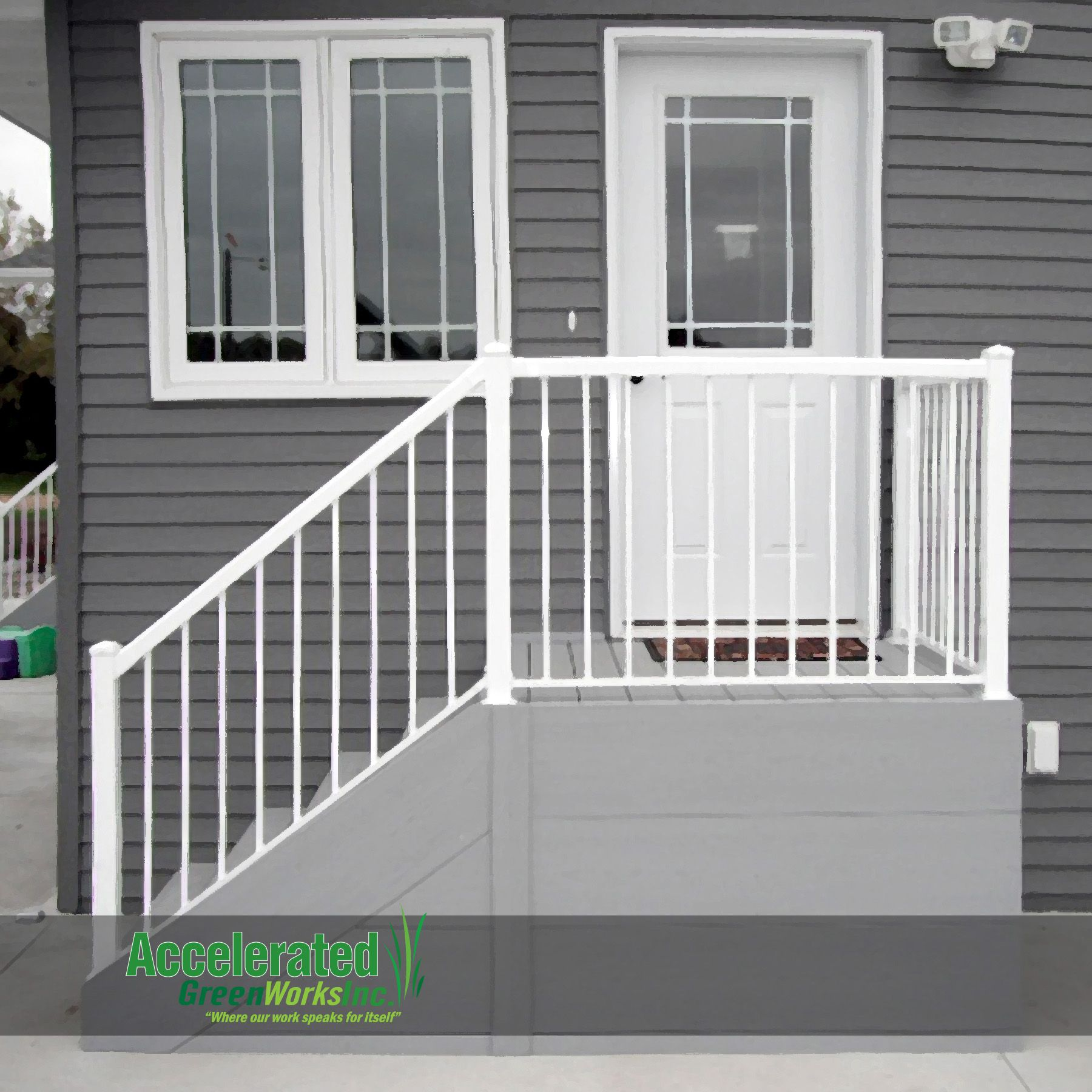 Simple maintenance free steps for a side door entry for Front entry decks