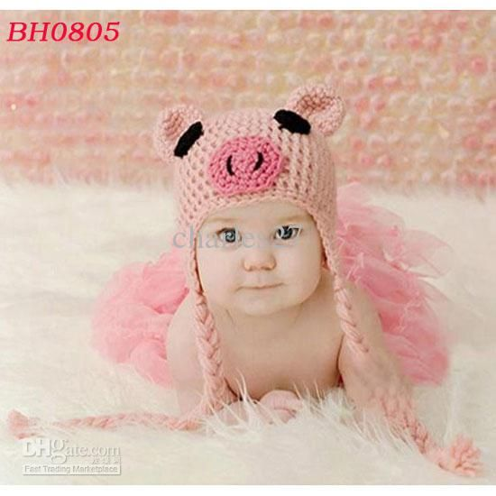 272c037d6 Baby Pig Hat Handmade Toddler Earflaps Hat Crochet Knitted Girls ...