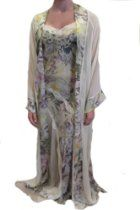 Jane Woolrich Handmade Silk Floral Gown and Robe