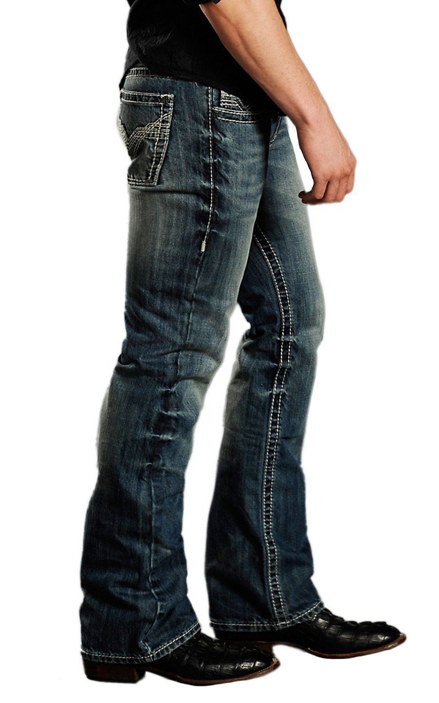 Rock   Roll Cowboy® Medium Stonewash Stitched V Pocket Pistol Slim Fit Boot  Cut Jeans MOP674343   Cavender s 4d25b09d4c