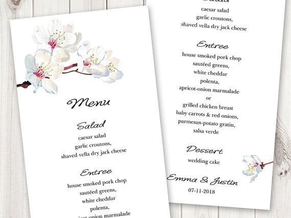Sakura Printable Diy Wedding Menu Template Cherry Blossom In White