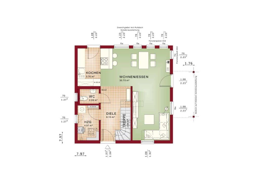 Einfamilienhaus Grundriss Erdgeschoss modern offene Küche mit ...