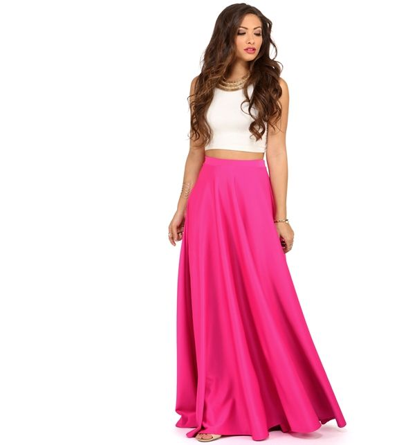 Hot Pink Grand Scuba Maxi Skirt | prettified | Pinterest | Scubas ...