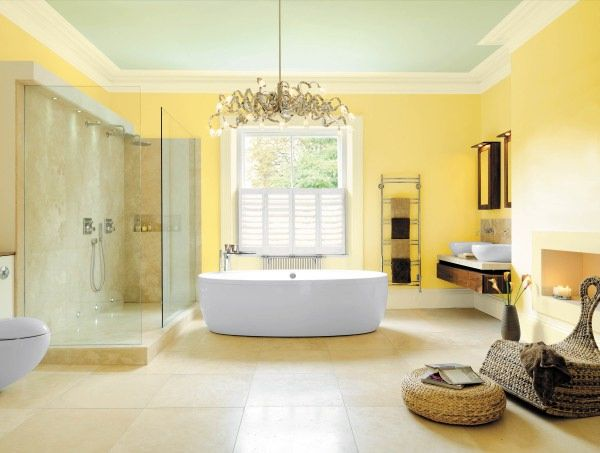 Good Designs Of Yellow Bathroom Decorating Ideas That So Unique And Beautiful Picture Design Chandelier Nice White Color