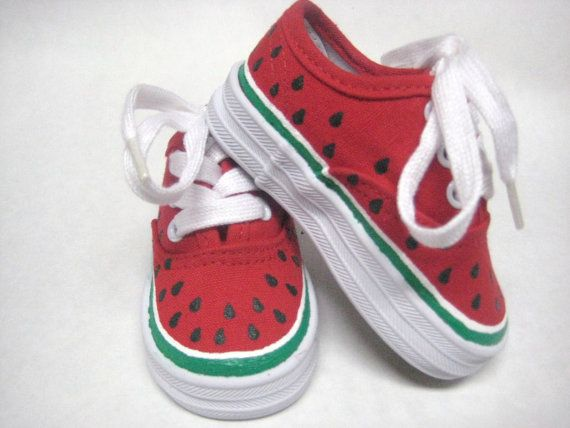 Watermelon Shoes Hand Painted Red
