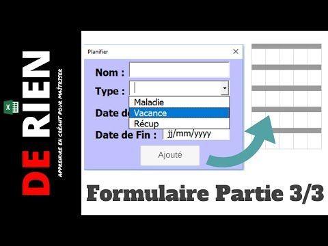 Cree Un Formulaire Excel Pour Remplir Un Tableau 3 3 Tutoriel Excel De Rien Youtube Formulaire Excel Formulaire Cours Informatique