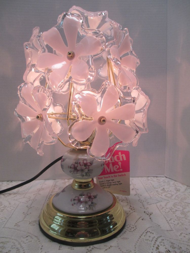 3 Way Table Desk Touch Lamp White Glass Flowers Brass And