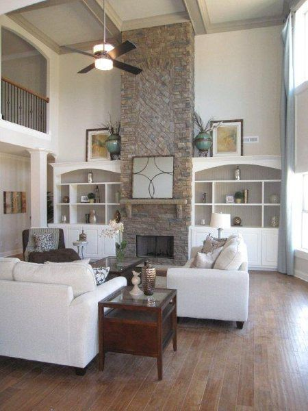 great room layout with loft, one built in for tv area ...
