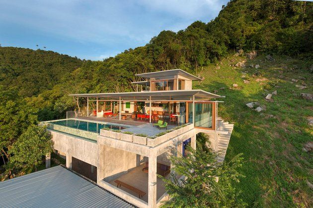Hillside Property Opens Wide To Pool And View Home Design
