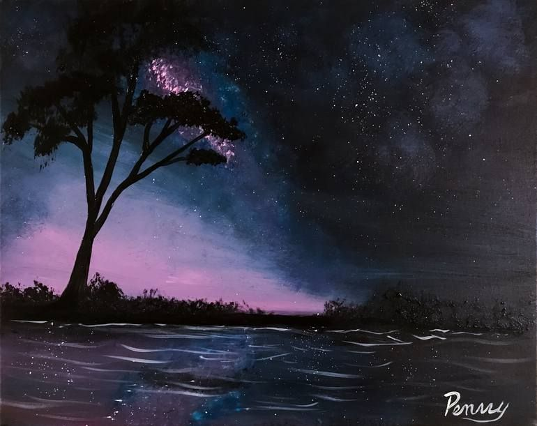 Original Landscape Painting By Penny Firehorse Expressionism Art On Canvas African Night Sky Night Sky Painting Sky Painting Dark Paintings